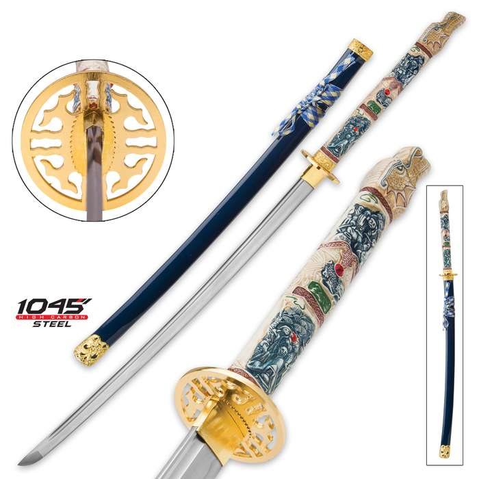 Highlander Closed Mouth Dragon Katana with Blue Lacquered Saya - 1045 High Carbon Steel Blade - Battle Ready