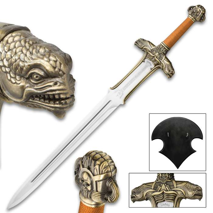 """Starbeast Slayer Fantasy Display Sword with Wooden Wall Mounted Plaque Display - Extraterrestrial Alien Glyph Blade Inscription - Detailed Hilt, 2-Headed Monster, Skull - Large 39"""""""