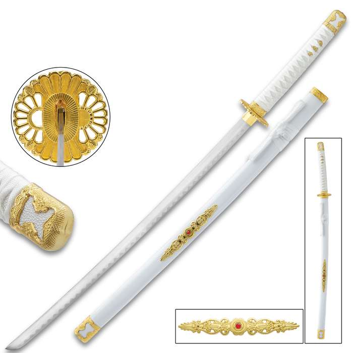 """White Lotus Katana With Scabbard - High Carbon Steel Blade, Metal Alloy Fittings, Wooden Scabbard - Length 39"""""""