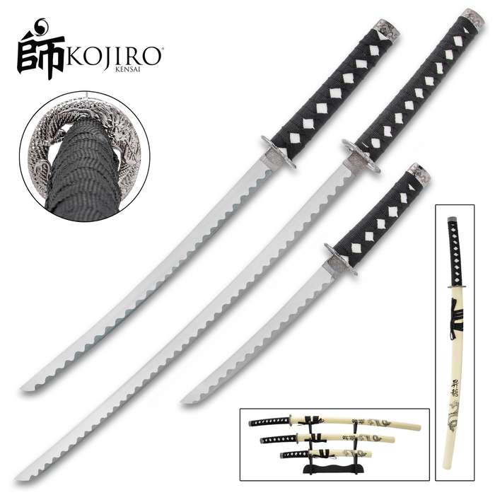 Kojiro Dragon Warrior Three-Piece Sword Set - 1045 Carbon Steel Display Blades, Cord-Wrapped Handles, Wooden Scabbards