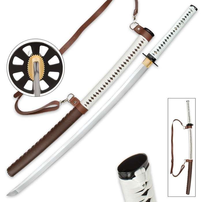 Zombie Slayer Katana Sword And Leather Wrapped Scabbard