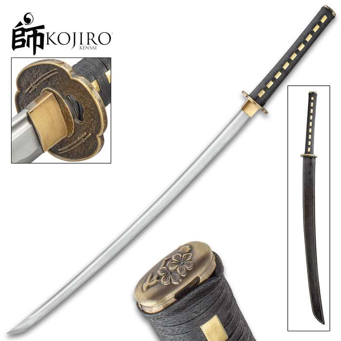 """Kojiro Sword And Sheath - High Carbon Spring Steel Blade, Brass Habaki, Wrapped Handle, Cast Metal Fittings - Length 38 1/2"""""""