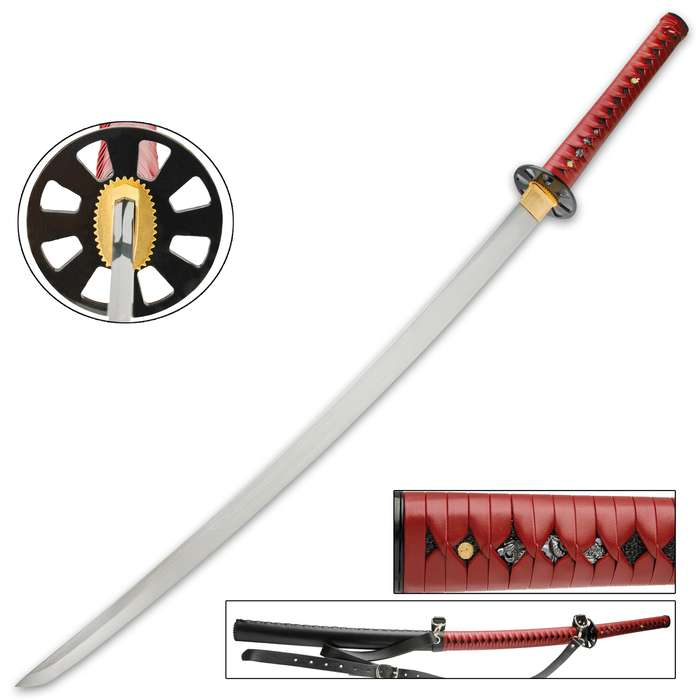 """It has a 28 3/4"""" high carbon steel blade, which extends from a dark, black metal alloy tsuba and a brass habaki"""