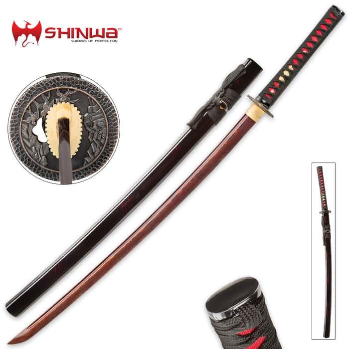 Shinwa Incendiary Handmade Katana Samurai Sword - Exclusive Hand Forged Red And Black Damascus Steel - Genuine Ray Skin - Ornate Tsuba / Guard Design - Fully Functional, Battle Ready