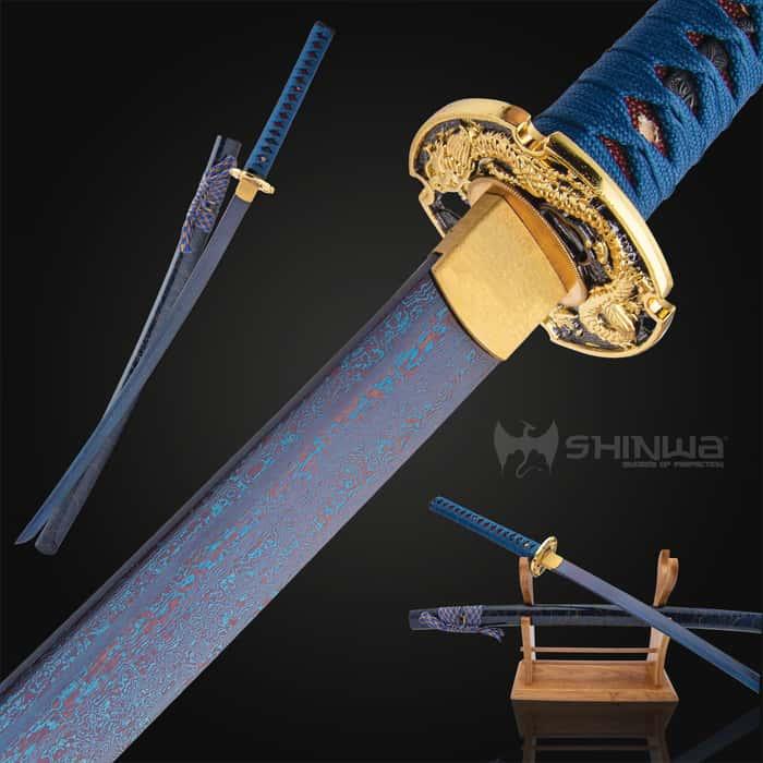 Shinwa Lazuli Handmade Katana / Samurai Sword - Exclusive Hand Forged Blue Damascus Steel - Genuine Ray Skin - Ornate Dragon Tsuba / Guard - Fully Functional, Battle Ready, Ninja Fierce