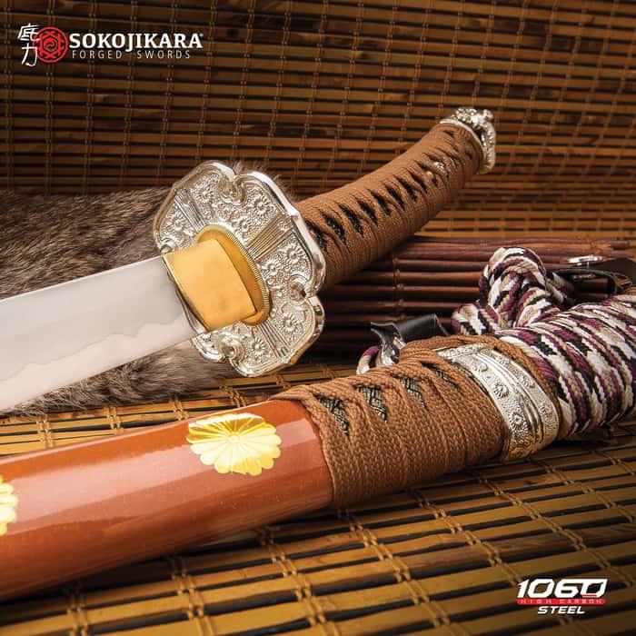 "Sokojikara Natsukashii Handmade Tachi / Samurai Sword - 1060 Carbon Steel, Clay Tempered, Hand Forged - Genuine Rayskin - Brown Saya - Fully Functional, Battle Ready, Full Tang - 41"""