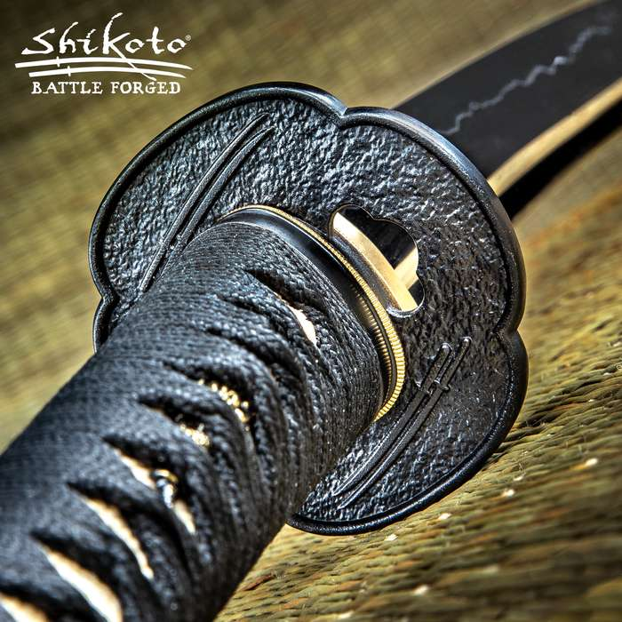 """Shikoto Hammer-Forged Longquan Master Nodachi Sword And Scabbard - 1060 High Carbon Steel Blade, Solid Brass Tsuba, Cord Wrapping, Geunine Rayskin - Length 65 3/4"""""""