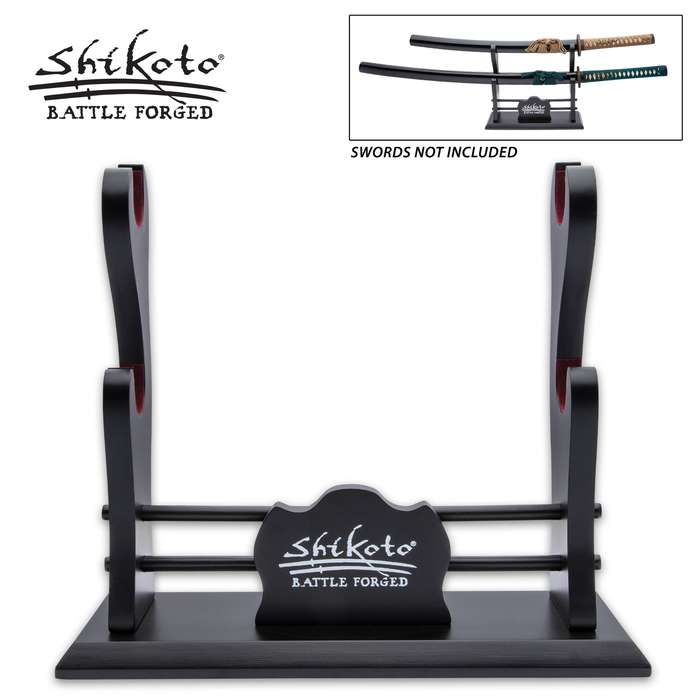 Showcase your Shikoto swords or any katana, in style, with the Double Sword Display Stand from Shikoto