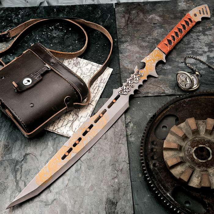Clockwork Apparatica Steampunk Fantasy Sword with Nylon Sheath