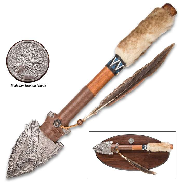 Eagle Arrowhead Spear With Wooden Display Plaque - Aluminum Alloy Arrowhead, Pakkawood Shaft, Faux Fur And Feather Accents - Length 18""