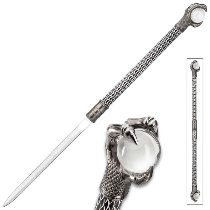 "Raven Klaw Twin Hidden Sword Set - 3Cr13 Stainless Steel Blade, Aluminum Handles, Crystal Balls - Length 30 1/4"""