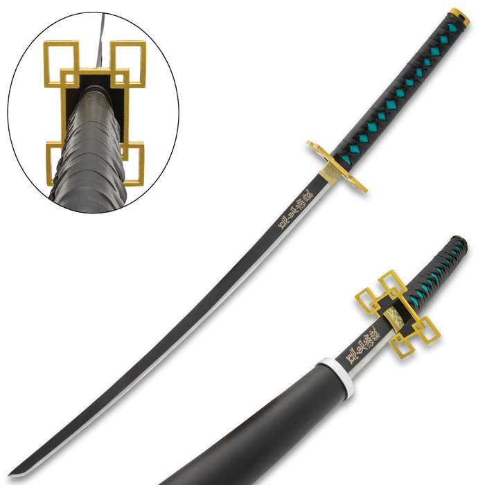 The Muichiro Tokito Teal and Black Demon Slayer Sword makes a great addition to your anime weapons collection