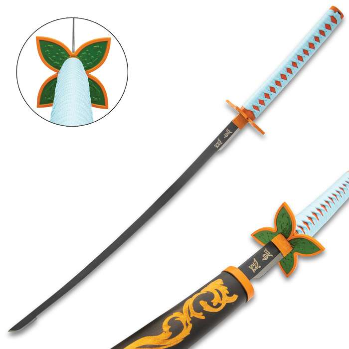 The Shinobu Kocho Orange and Black Demon Slayer Sword makes a great addition to your anime weapons collection