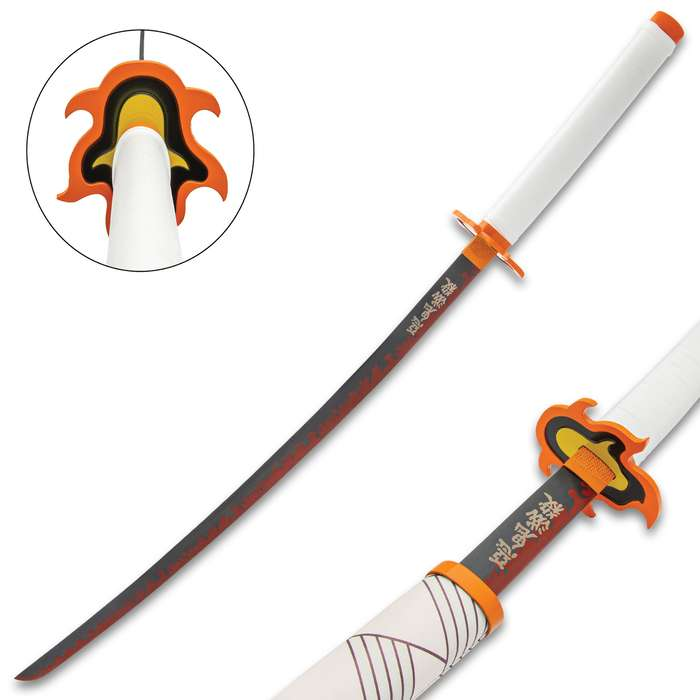 The Kyojuro Rengoku Orange and Red Fire Demon Slayer Sword makes a great addition to your anime weapons collection