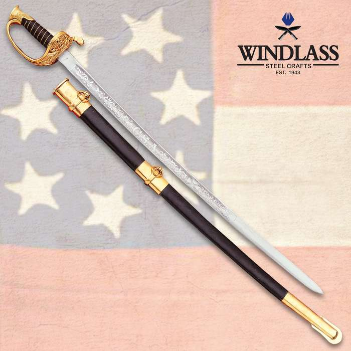 """Confederate Staff And Field Officer Sword With Scabbard - 1095 High Carbon Steel Blade, Leather Handle, Brass Wire Wrapped - Length 36"""""""
