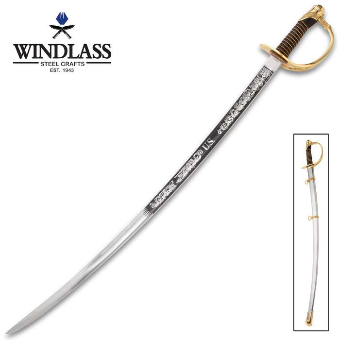 Model 1860 Cavalry Officer's Saber And Scabbard - Hand-Forged Steel Blade, Leather Handle, Brass Guard And Pommel - Length 39""