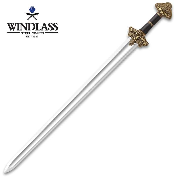 Leif Erikson Replica Sword With Scabbard - High Carbon Steel Blade, Wide Fuller, Leather-Wrapped Handle, Sculpted Guard