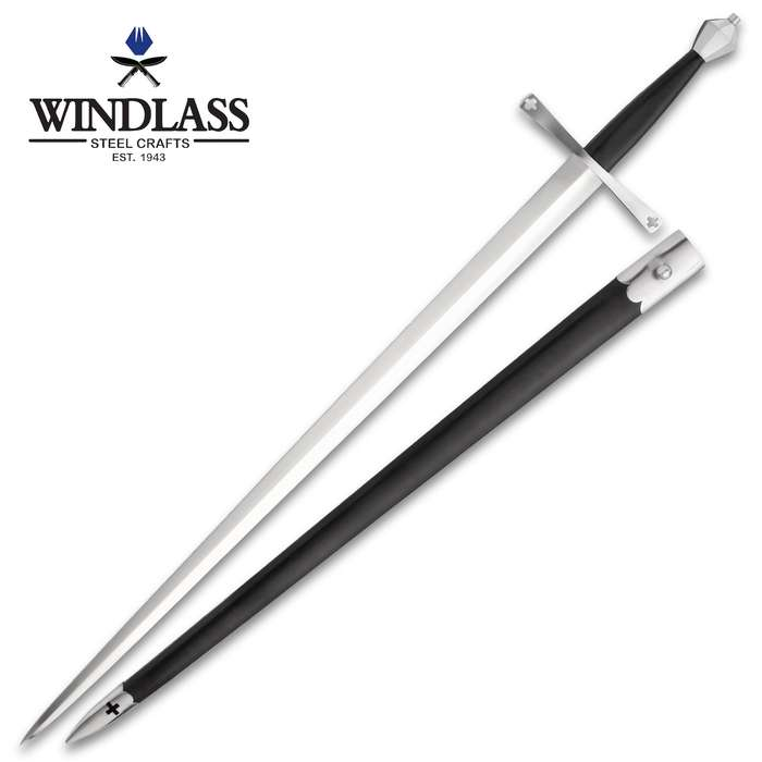 """Shrewsbury Replica Sword And Scabbard - 1065 High Carbon Steel Blade, Fig-Shaped Steel Pommel - Length 42 1/8"""""""
