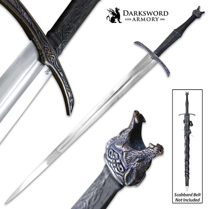 """Darksword Armory Wolfsbane Norse Viking Sword And Scabbard - 5160 High Carbon Steel Blade, Battle-Ready - Length 47"""""""