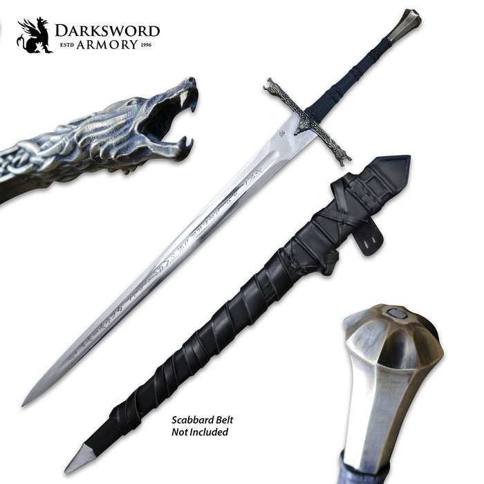 """Darksword Armory Eindride Lone Wolf Sword And Scabbard -5160 High Carbon Steel Blade, Battle-Ready - Length 43"""""""