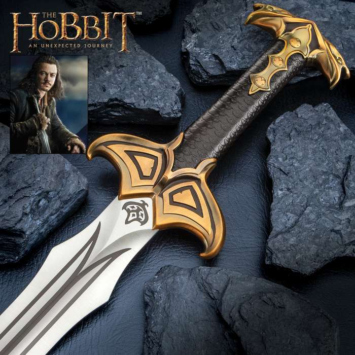 """The Sword of Bard the Bowman - The Hobbit, Stainless Steel Blade, Embossed Leather Grip, Wooden Display Plaque - Length 38 3/8"""""""