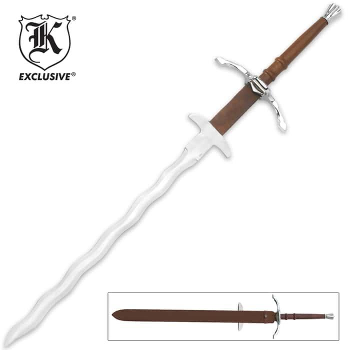 Two Handed Bastard Kriss Sword & Scabbard