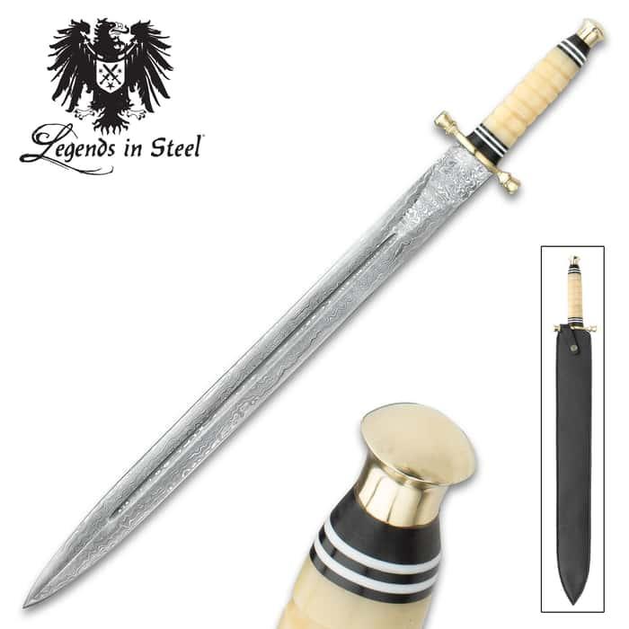 Legends In Steel Genuine Bone and Damascus Steel Sword