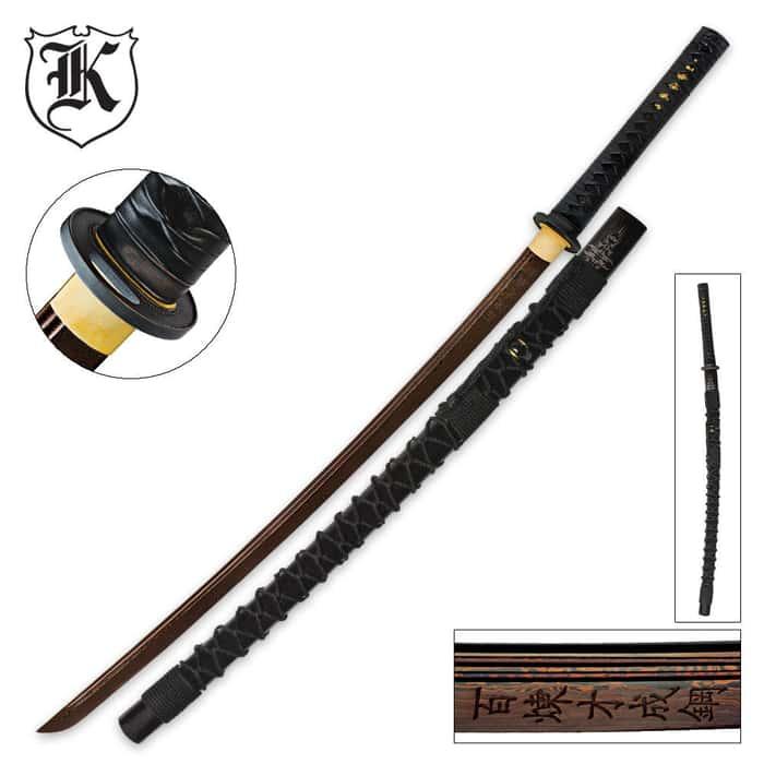 Dragon Stalker Katana Sword Rich Black Damascus Steel Blade