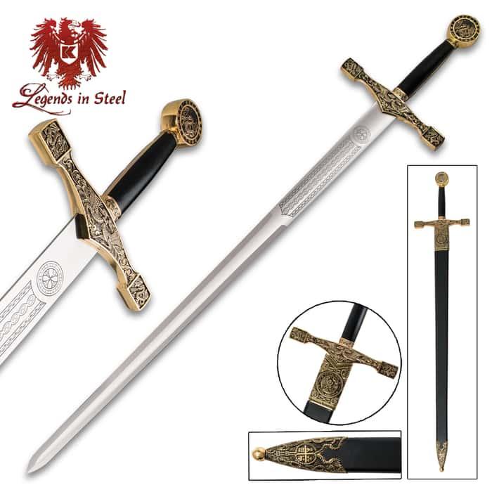 Legends In Steel Excalibur Deluxe Sword WIth Gold Finish
