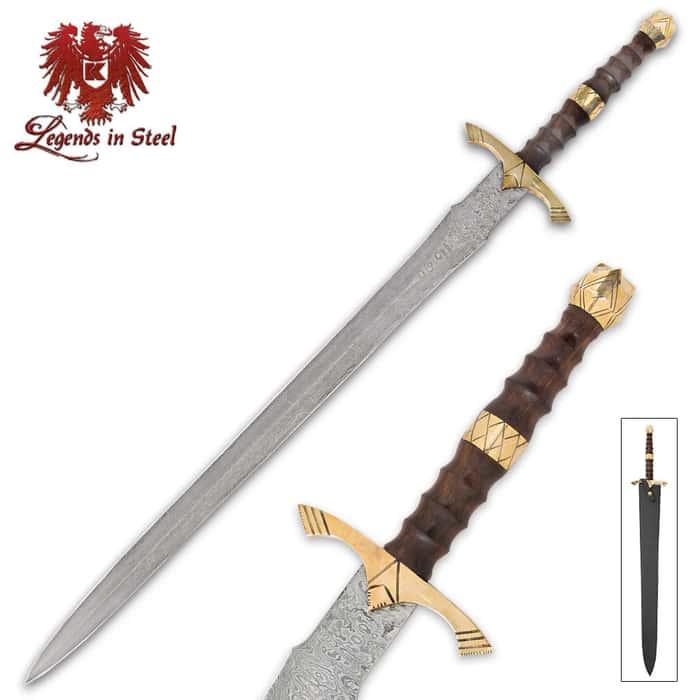 Legends In Steel Brass, Heartwood And Damascus Steel Sword
