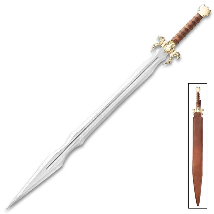 """Golden Scorpion Sword And Sheath - Stainless Steel Blade, Wooden Handle, Brass Handguard And Pommel - Length 35 1/4"""""""