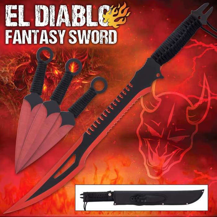A red-hot combination of sword and kunai, the El Diablo Set is a must-have for your sword collection!
