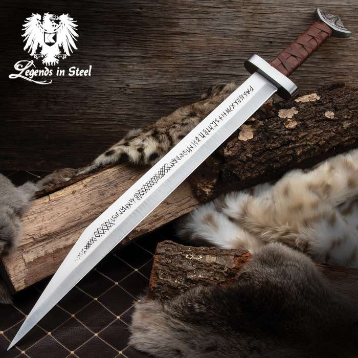 This Viking sword is a high-quality reproduction weapon that looks impressive wherever you hang it or display it