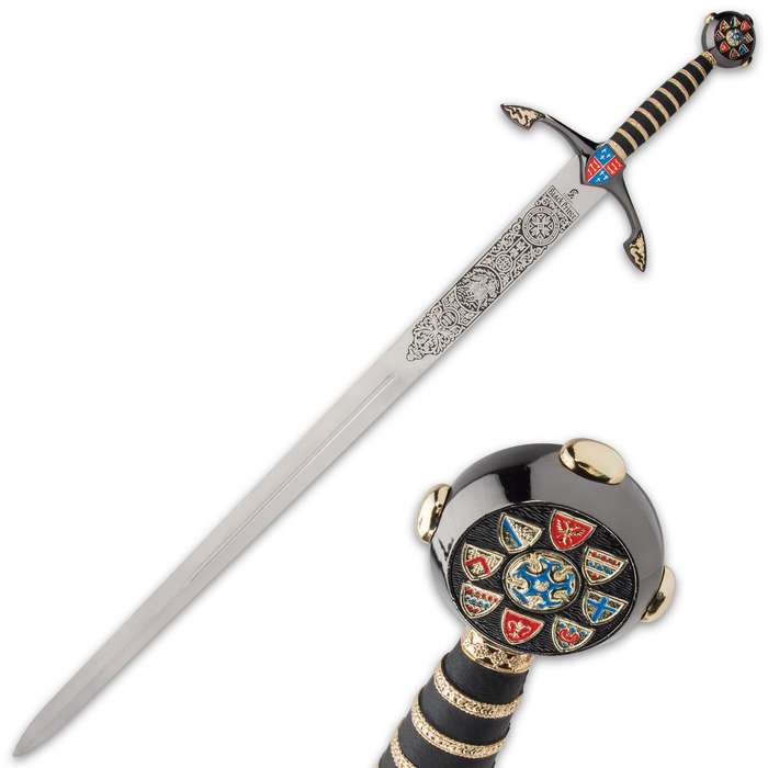 This sword, reproduced from the milled effigy on his tomb in Canterbury Cathedral, is a reminder of the Medieval hero