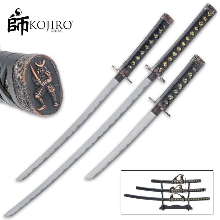 The Kojiro Night Watch Three-Piece Sword Set gives you the full daisho of a Samurai warrior, which is a katana, wakizashi and tanto