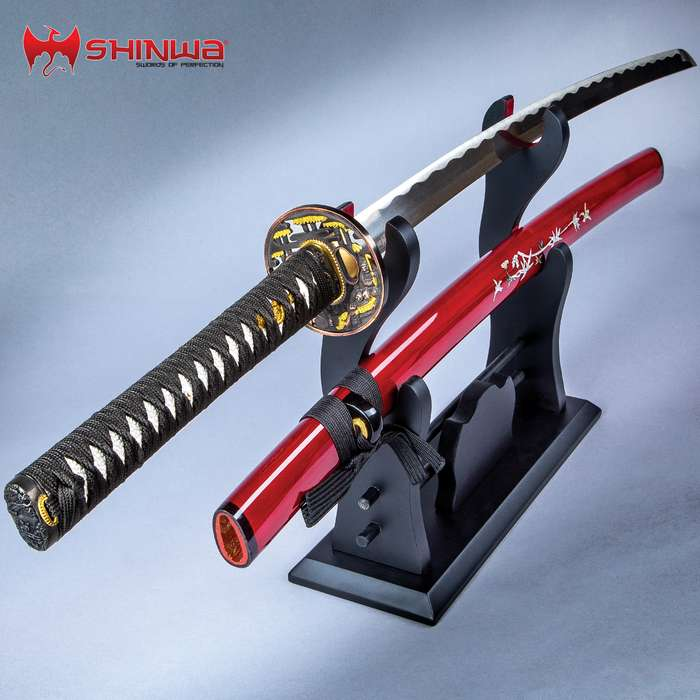 Shinwa Crimson Warrior Katana With Scabbard - 1045 High Carbon Steel Blade, Genuine Rayskin, Brass Habaki - Length 41 1/4""