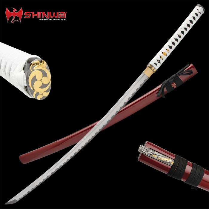 A sword that has been meticulously-hand forged using ancient, time-honored tempering techniques that give it a custom look