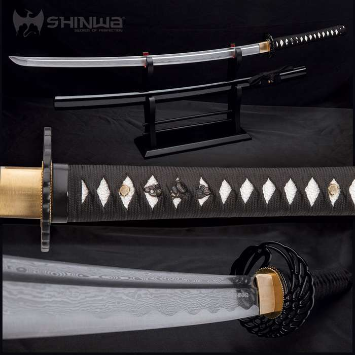 Shinwa Royal Warrior Handmade Katana / Samurai Sword - Hand Forged Damascus Steel, Hamon - Full Tang - Fully Functional, Ninja Bold - Faux Ray Skin, Cord Wrap, Custom Wing Tsuba Design