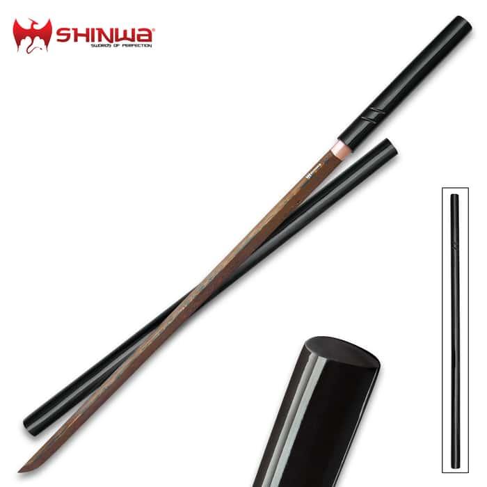 Shinwa SilkSting Handmade Shirasaya / Samurai Sword - Exclusive, Hand Forged Black Damascus Steel; Hand Lacquered Hardwood - Sleek Style, Ninja Stealth - Functional, Battle Ready - Full Tang Tanto