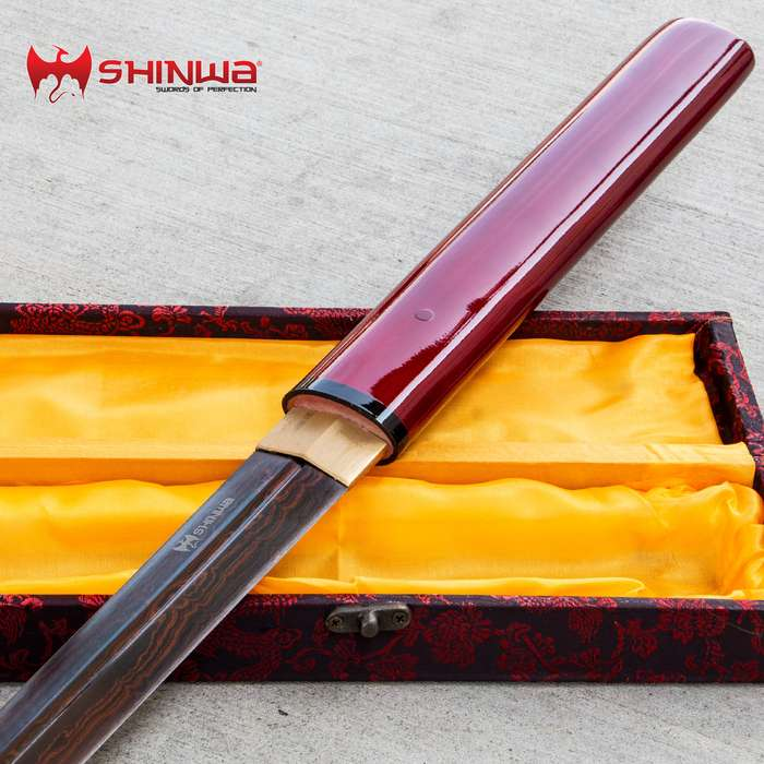Shinwa ScarletFang Handmade Shirasaya / Samurai Sword - Double-Edged Blade; Exclusive Hand Forged Black Damascus Steel; Red Hand Lacquered Hardwood - Functional, Battle Ready, Ninja Sleek - Full Tang