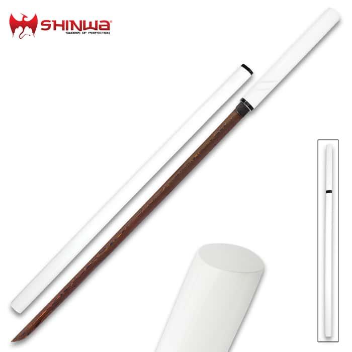 Shinwa SatinSting Handmade Shirasaya / Samurai Sword - Exclusive Hand Forged Black Damascus Steel; White Hand Lacquered Hardwood; Sleek Style, Ninja Stealth - Functional, Battle Ready, Full Tang Tanto
