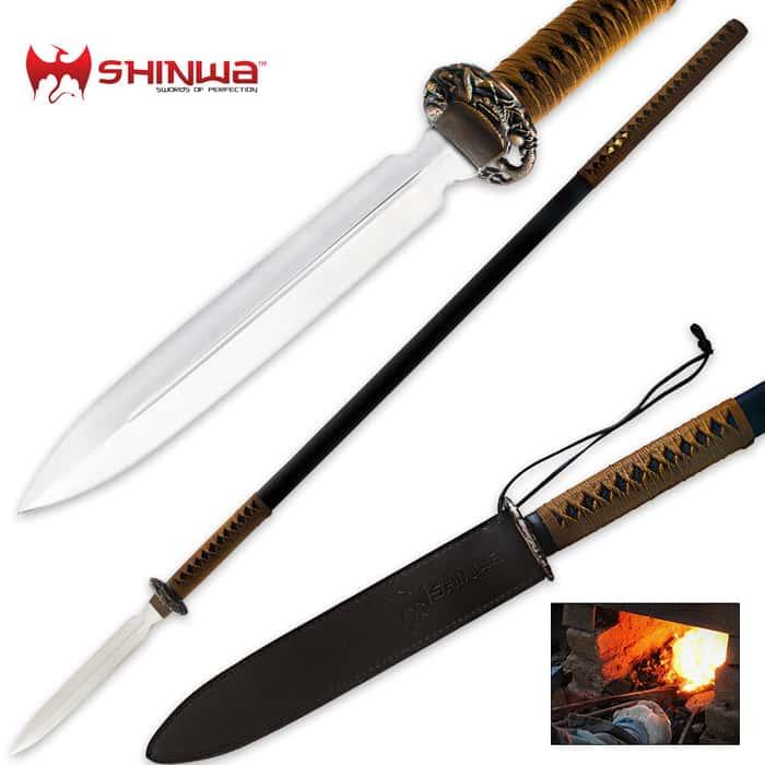 Shinwa Double Edged Carbon Steel Warrior Spear Tan