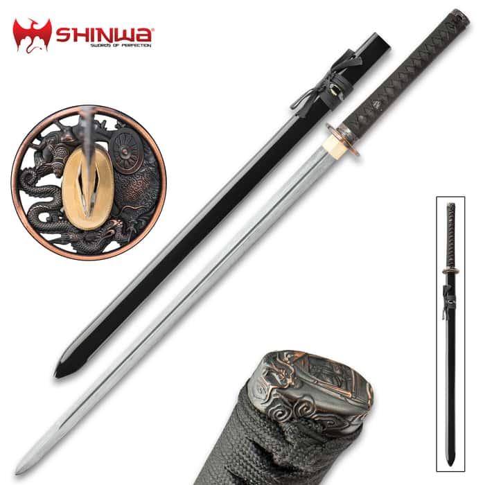 Dragon Lord® Handmade Katana / Samurai Sword - Double Edged; Hand Forged Damascus Steel, 1,000+ Layers - Distinctive Custom Dragon Tsuba - Functional, Battle Ready, Full Tang