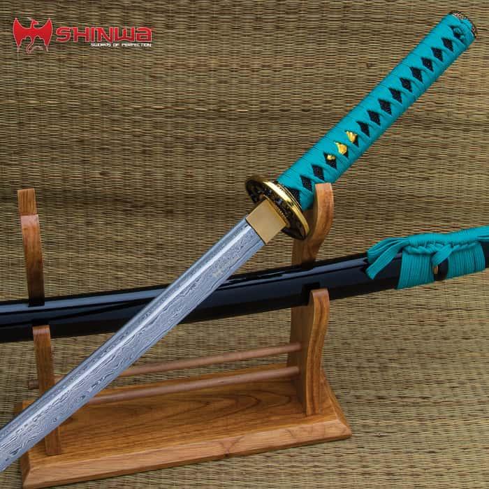 Shinwa Regal Katana Green Sword Damascus