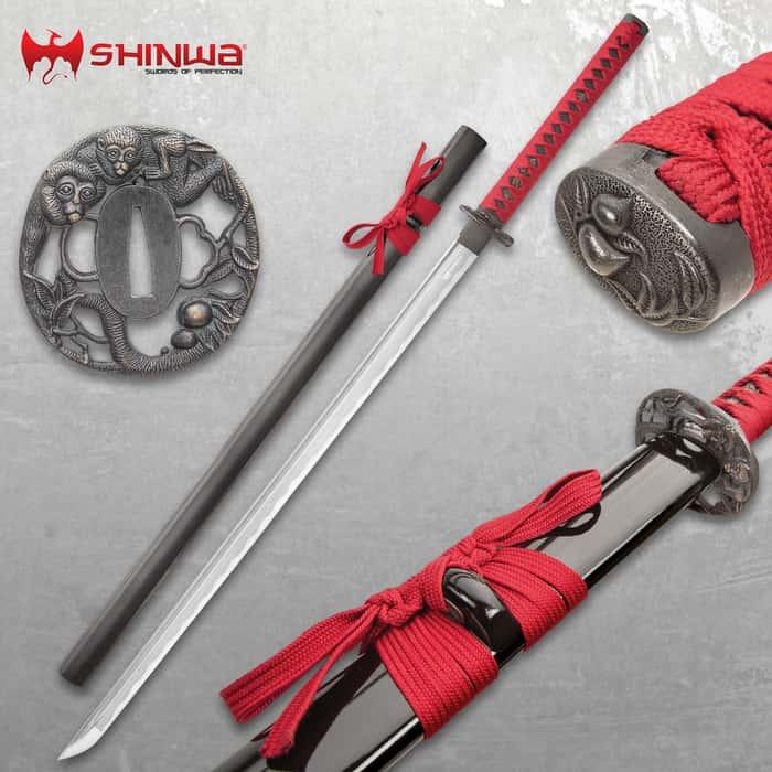 Shinwa Damascus Steel Red Knight Katana Sword Hand Forged