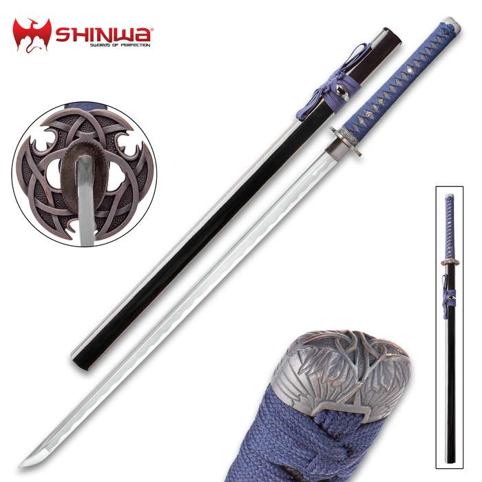 Shinwa Blue Knight Handmade Katana / Samurai Sword - Hand Forged Damascus Steel, More Than 1,000 Layers - Distinctive Custom Cast Tsuba - Faux Ray Skin - Functional, Battle Ready, Full Tang