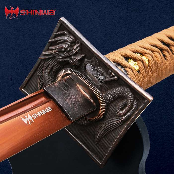 "Shinwa Copper Dragon Katana And Scabbard - 1060 High Carbon Steel, Copper Tsuba, Genuine Rayskin - Length 40 3/4"""