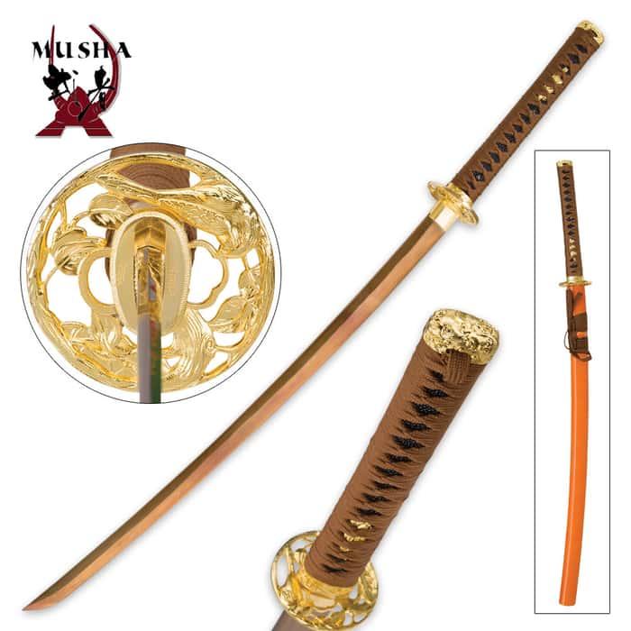 Musha Hand-Forged Gold Damascus Samurai Sword