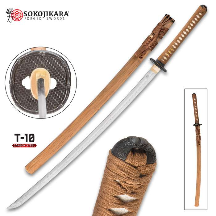 Sokojikara Bambusa Handmade Katana / Samurai Sword - T10 High Carbon Steel, Hand Forged, Clay Tempered - Genuine Ray Skin; Iron Tsuba - Functional, Full Tang, Battle Ready