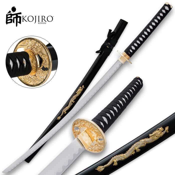 Kojiro Samurai Warrior Carbon Steel Katana Sword - Black